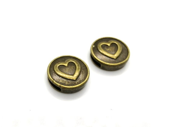 Tibetan Style Metal Round Heart Slider Bead Antique Copper