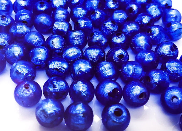 Silver Foil Glass Round Bead Blue 10mm Pack of 10