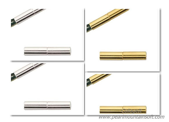 The Beadsmith Magnetic Tube Clasp 3.2mm Hole - Gold or Silver