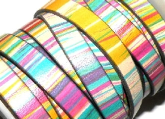 Chunky Multi Stripe Flat Leather 10mm