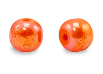 Glass Round Bead 6mm - Electric Orange