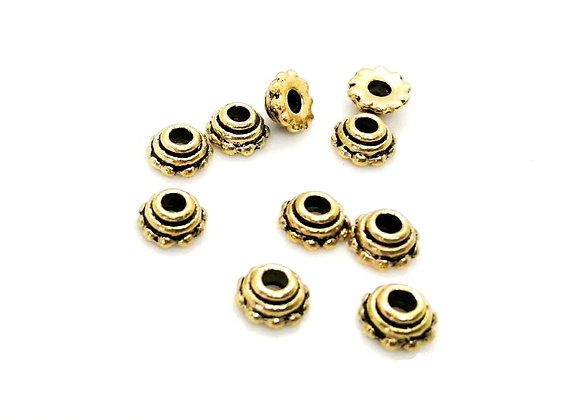 Antique Gold Bead Caps Pack of 10
