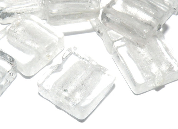 Silver Foil Glass Square Bead 12mm - Pack of 10