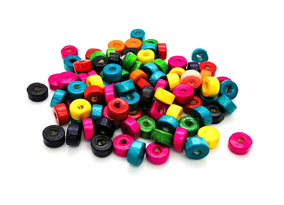 Colourful Wooden Flat Disc Beads 8mm - Pack of 50 Mixed
