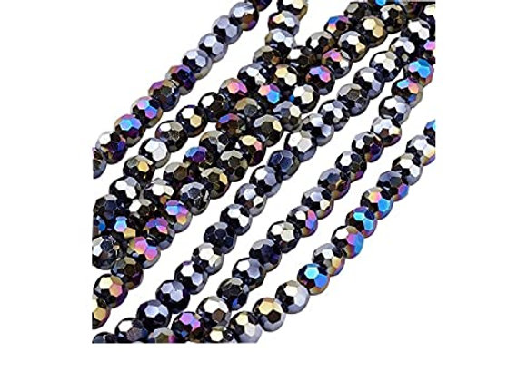 4mm Electroplate Faceted Round Glass Bead - Prussian Blue Pack of 50