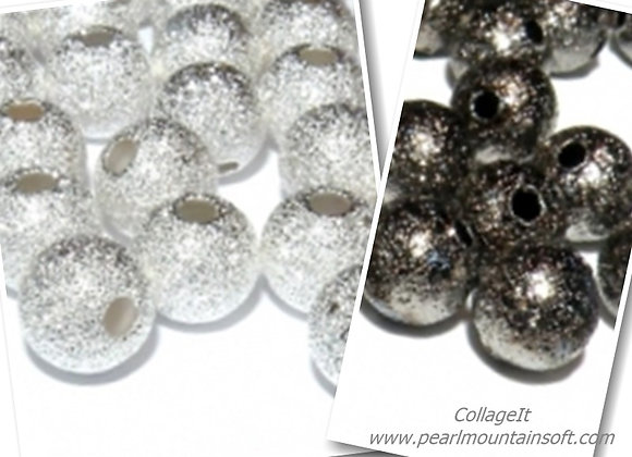 Metal Round Stardust Beads 6mm - Black or Silver