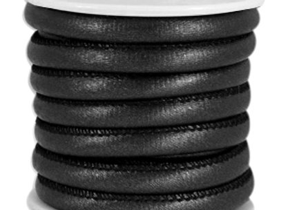 Stitched Faux Leather 6x4mm Animal Print Black Metallic