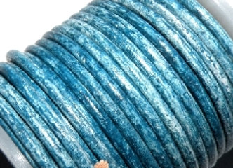 Vintage Cool Blue 2mm Round Leather