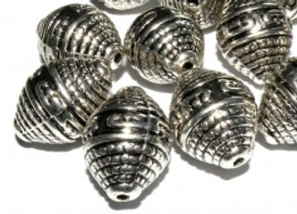 Patterned Oval Bicone Bead 20mm - Antique Silver