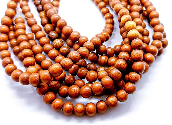 Phillippines Natural Dyed Wood Beads 5/6mm Pack of 100
