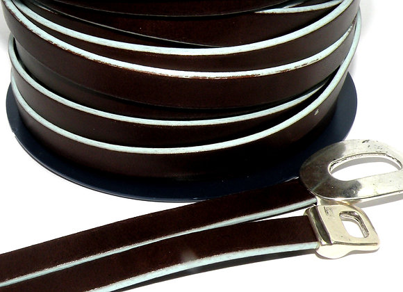 Chocolate Brown With Very Pale Blue Edge Flat Leather 10mm