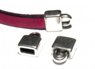 Silver Flat Cord End 5mm Hole - Pack of 2