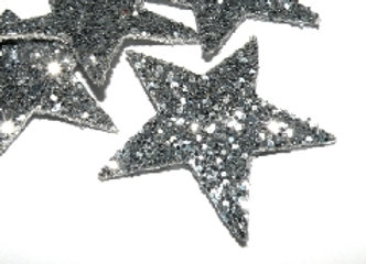 Fauz Leather Glitter Star Pendant/Charm Silver packf 2