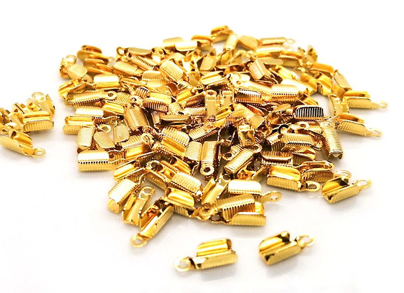 Fold Over Cord End Gold 3mm Hole - Pack of 10