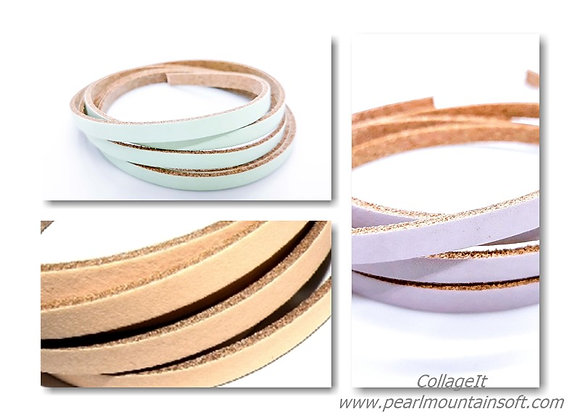 Soft Flat Leather 5mm - Peach, Lilac or Mint