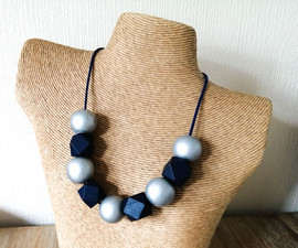 Blue & Silver Wood Bead Necklace