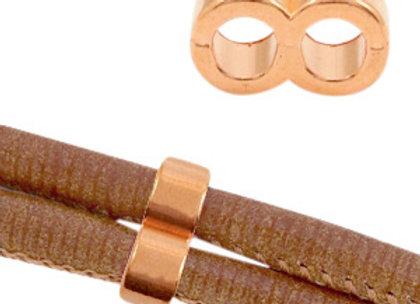 """Designer Quality Metal Slider Bead """"8"""" Rose Gold - 4mm Hole"""