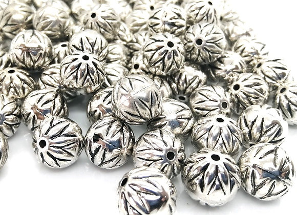 CCB Patterned Round Bead 15mm - Silver