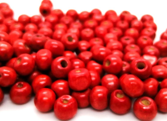 Red Wood Round Beads 8mm