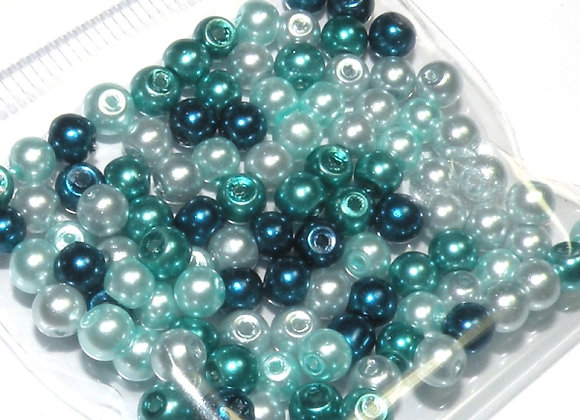 Glass Pearl Bead Mix 3mm Turquoise Blue - Pack of 100