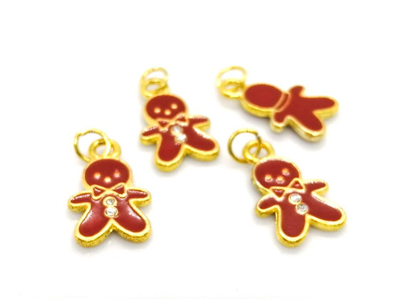 Enamelled Gingerbread Man Charm with Rhinestones Pack of 2