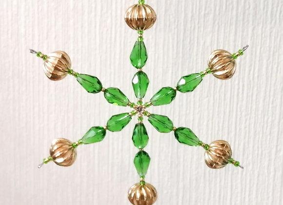 "Gold & Green Snowflake Kit 4.5"""