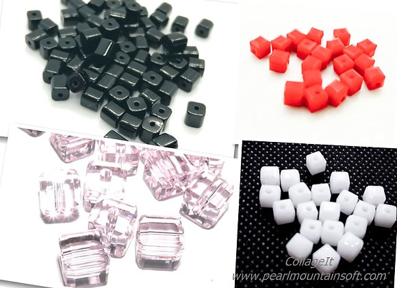 Glass Cube Beads 4mm - Pack of 20
