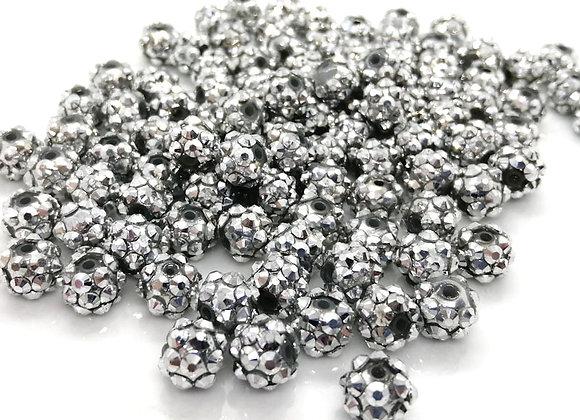 Graphite silver resin rhinestone disco ball shamballa bead