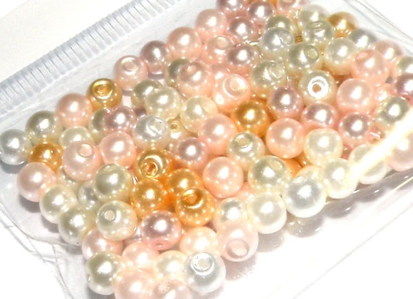 Glass Pearl Bead Mix 3mm Peachy Cream - Pack of 100