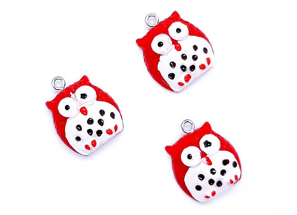 Resin Owl Charm Pendant Red