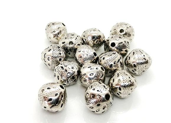 Little Silver Bicone Pattern Bead 12mm
