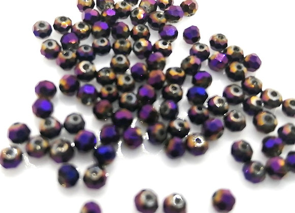 Czech Fire Polish Faceted Beads 3mm Voilet Gold Pack of 50