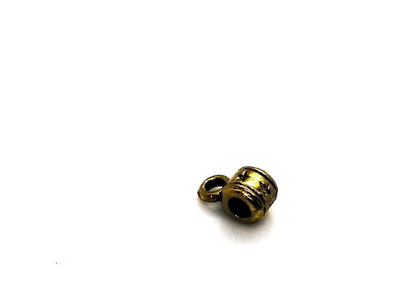 Small Patterned Hanger Tube Bead/Pendant Bail 2.5mm Hole - Antique Gold