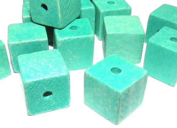 Aqua Cube Wood Beads 15mm