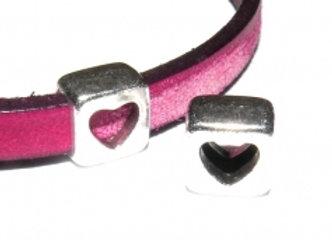 Square Open Heart Slider Bead -5mm Hole