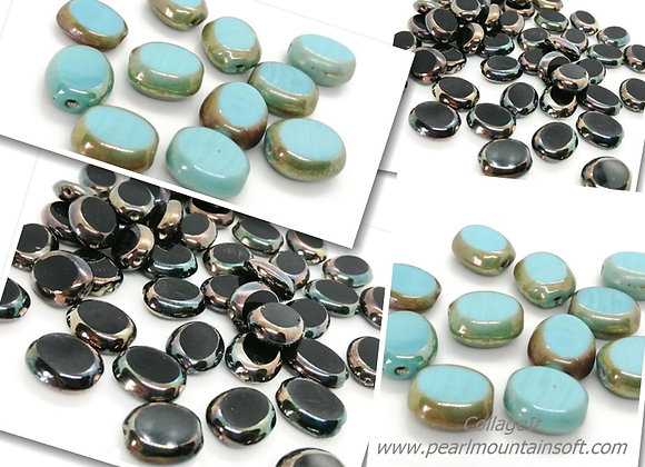 Flat Oval Electroplate Glass Bead 15mm - Black or Turquoise