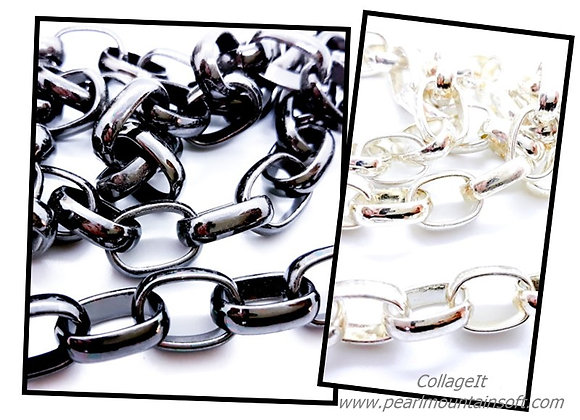 Chunky Rolo Chain 15.5mm - Gunmetal or Silver