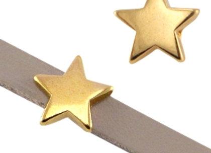 DQ Star Slider Bead - Gold - 5mm Hole