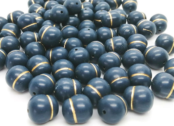 Navy/Gold Nugget Bead Pack of 10