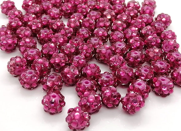 Vivid Pink Resin Rhinestone Disco Ball Bead 8mm Pack of 10