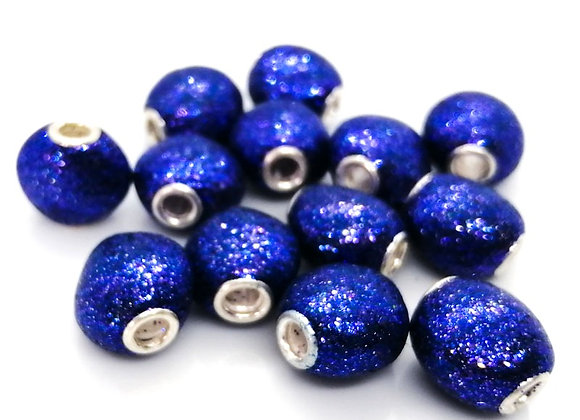 Large Hole Flat Rounded Glitter Bead - Blue