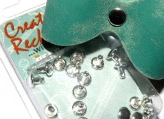 The Beadsmith Create Recklessly Silver Plate 6mm Cap/Post Rivet Pack