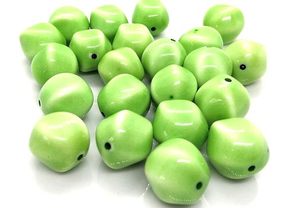 Shiny Glazed Porcelain Nugget Bead 18mm - Light Green