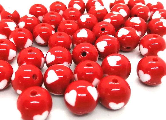Round Bead 15mm - Red/White Heart Print