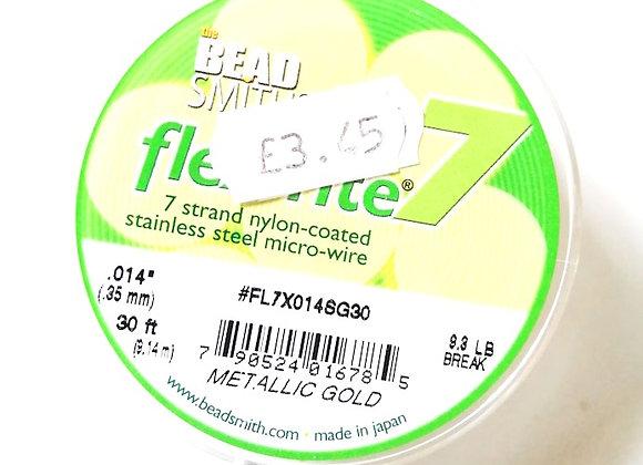 "Beadsmith flex-rite 7 Beading Wire Metallic Gold .014"""