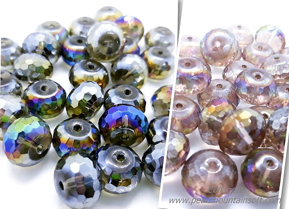 Glass Faceted Abacus Bead 10x14mm - Aurora Shimmer or Frosted Rainbow