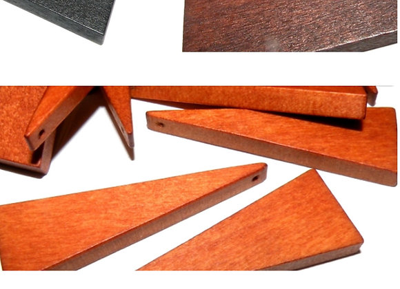Large Wood Triangle Beads 41mm - Choice of Colours