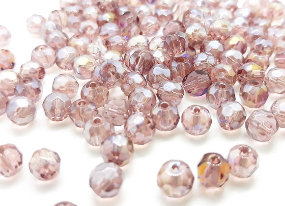 6mm Glass Faceted Electroplate Round Bead - Amethyst Shimmer Pack of 10