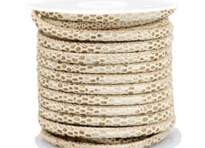 Stitched Faux Leather 4mm Reptile Beige