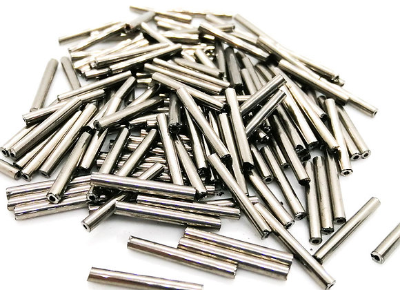 Glass Silver Core Bugle Beads Platinum Pack of 100